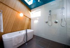 Fresh, clean-lined spa bathroom