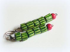 Funny watermelon recycled paper earrings by cukipokshop on Etsy, $8.00
