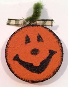 Whimsical Handmade Happy Halloween Pumpkin Pins on upcycled cork.  (Cork is sealed) Pick by # when orderingAdd to your scraf, hat, coat, purse, just about anything for a fun look ! by RockinRobinsBling, $2.00