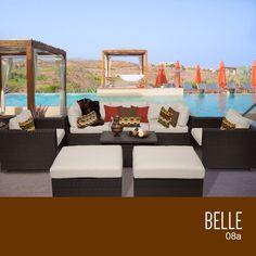 TKC Belle 8 Piece Outdoor Wicker Furniture Conversation Set 08a, Beige