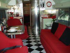 BOB after our remodel in Classic Diner theme. 1950s Diner Kitchen, 1950 Diner, Caravan Makeover, Rv Makeover, Black And Red Kitchen, Retro Camping, Trailer Decor, Van Interior, Camper