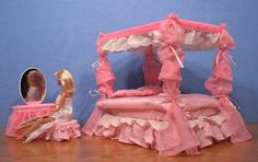 Barbie Canopy Bed with Vanity. $60.00, via Etsy.