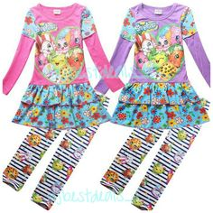 New  Kids Girls Long Sleeve Outfit Dress & Leggings Shopkins Clothes 4-10 Years #Unbranded #DressyEverydayHoliday