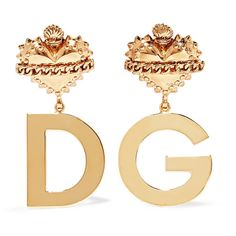 Dolce & Gabbana Gold-plated clip earrings ($505) ❤ liked on Polyvore featuring jewelry, earrings, accessories, chain earrings, gold plated jewelry, logo earrings, heart shaped stud earrings and dolce gabbana earrings