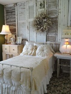2nd Bedroom! Take old shutters and attach them to your bedroom wall for a shabby chic decor. #heartstop