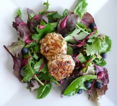 Walnut Crusted Goat Cheese Salad with Blueberry Vinaigrette and fresh blueberries. Oh..my..yummy!