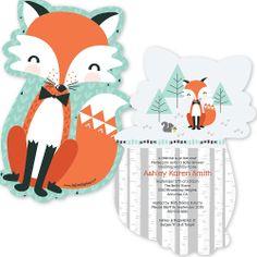 Mr. Foxy Fox - Shaped Baby Shower Invitations | BigDotOfHappiness.com