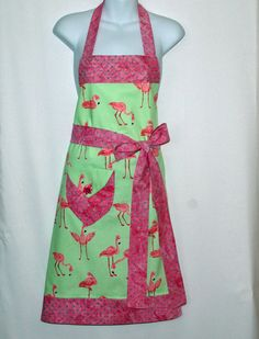 Pink Flamingo Apron, Custom Gift For Mom, Sis, Friend, Boss, Wife, Full Bib, Personalize With Name, No Shipping Fee, Ships TODAY, AGFT 327