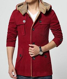 Gocgt Men Winter Hooded Faux Fur Lined Coat Outdoor Jacket
