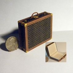 Artisan signed dollhouse miniature suitcase LV by Jilienne