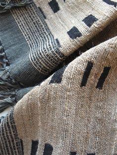 Black & natural linen throw