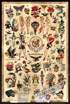 Sailor Jerry Tattoo Flash 2 Poster stampa di MarkPaintAndPrints