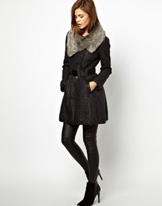 Karen Millen Technique Quilted Coat with Faux Fur Collar