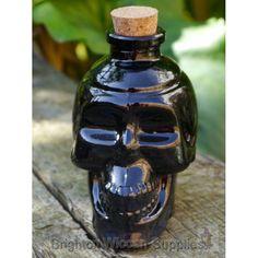 Skull Black Glass Bottle