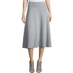 FRAME Le Midi A-Line Skirt (250 SGD) ❤ liked on Polyvore featuring skirts, gris, pull on skirt, midi skirt, knee length a line skirt, calf length skirts and frame denim