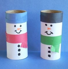 Snowmen made from toilet paper rolls