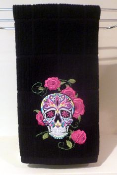 Sugar skull towel CUSTOM kitchen bathroom Dia de los Muertos skull rose Mexico