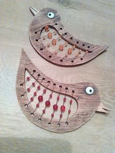 Another thought for greeting card baskets -- pierced and beaded. Ceramic Clay, Ceramic Painting, Clay Owl, Kids Clay, Leather Stamps, Biscuit, Handmade Tiles, How To Antique Wood, Clay Projects