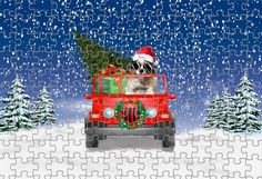 Dogs Driving Christmas Jeep Puzzle 1000 or 500 Piece Awesome Gift, Dog Lovers Christmas Gifts, Pet Christmas Jigsaw Puzzle Christmas Jigsaw Puzzles, Christmas Puzzle, Christmas Dog, Christmas Holidays, Christmas Gifts For Pets, Christmas Animals, Cairn Terrier, Terrier Dogs, Christmas Doormat