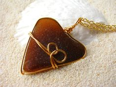Sea Glass Heart in Gold