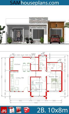 House Plans 10x8m with 2 Bedrooms - Sam House Plans 3d House Plans, Small House Floor Plans, Family House Plans, Craftsman House Plans, Modern House Plans, House Blueprints, Modern Small House Design, Simple House Design, House Front Design