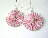 Paper Earrings - Pink and White Origami Pleated Paper Earrings