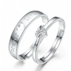 """""""Forever Love"""" Unique 925 Sterling Silver Lover's Heart Couple Rings (Price For a Pair)"""