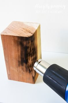 I am planning on giving my family room a mini makeover so I began perusing the internet for fun things to add to the shelves I will be adding. I came across a set of charred wood bookends from Anthrop Crafts To Make, Arts And Crafts, Wood Bookends, Charred Wood, Heat Gun, Ruby Pendant, Bullet Jewelry, Home Improvement Projects, Wood Crafts