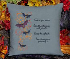 Flying Bats - Spending Time Hanging   Customizable Pillow Cover by SheBellaBirk on Etsy