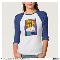 Colorful Cat Art Peace And Love T-Shirt by Dora Hathazi Mendes  T-Shirt  #cats #catlovers #catart #tshirt #cat #art #painting #gifts #for #girls #forgirls #whimsical #cute #colorful #kitty #kitten
