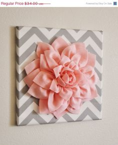 "BLACK FRIDAY SALE Wall Flower -Light Pink Dahlia on Gray and White Chevron 12 x12"" Canvas Wall Art- Baby Nursery Wall Decor- on Etsy, $30.00"