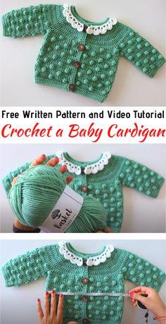 Crochet Baby Sweater Pattern, Crochet Baby Jacket, Crochet Baby Sweaters, Baby Sweater Patterns, Bag Crochet, Baby Clothes Patterns, Baby Girl Crochet, Crochet Baby Clothes, Baby Knitting Patterns