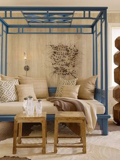 Secret and very indulgent love: delicate and global inspired four-poster beds... and this batik-blue daybed and gorgeous!! Love this room!