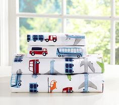 Transportation themed little boys' room - Brody Sheeting #PotteryBarnKids