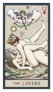 "The Alchemical Tarot from Robert M. Place, has two ""Lovers"" cards, one of the lovers sweetly embracing and one of the lovers getting down and dirty. - Sarah Anne Lawless"