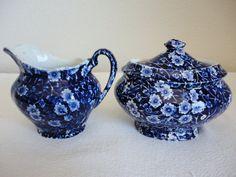 Calico Blue Ceramic Sugar Bowl and Creamer