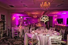 Oatlands House ~ Candles and dimmed lighting transform the Rose Suite by night. A romantic setting for an intimate wedding reception.