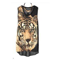 Vintage Tiger Printed Round Neck Sleeveless Black Chiffon T Shirt ($32) ❤ liked on Polyvore