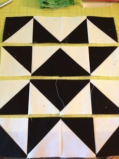 knit 'n lit: Modern Half Square Triangle Quilt-a-long Block 1 -- awesome project...make a 2-color quilt, one block each week!