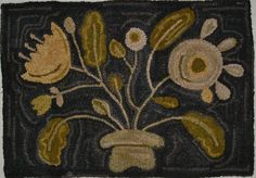 Hand Made Primitive Hooked Rug Prim Posies Folk Art Early Style | eBay