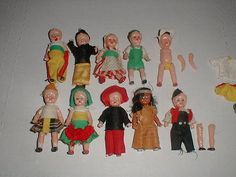 HONG-KONG-Miniature-3-Doll-Lot-HARD-PLASTIC-Sleep-Eyes-Clothes-Outfit-VTG-TOY