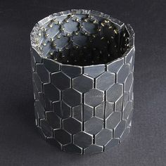 Patina Gallery - Bracelet, Hexagon, Grey Sterling Silver, 18k Gold. Artist - John Iversen