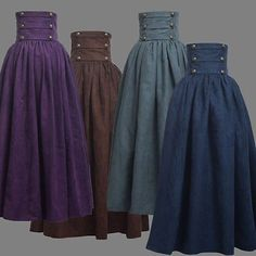 Vintage Lady Victorian High Waist Ruffle Skirt Steampunk Walking Skirt 4 Colors
