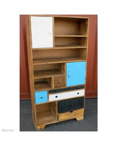 Industrial 8 drawer unit imported directly from India. Bright colours with shelves and drawers.