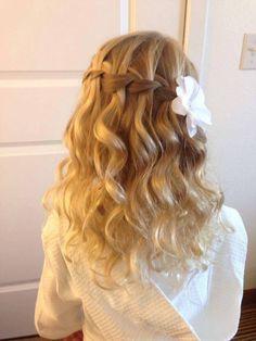 Waterfall braid and wavy curls