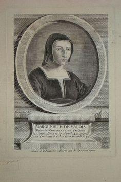 Marguerite de Valois, Queen of Navarre . Dumonstier Daniel (after) Aquitaine, Marguerite De Navarre, Francois 1, Linoprint, Wood Engraving, 16th Century, Les Oeuvres, Printmaking, Mona Lisa
