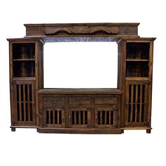 Rustic Entertainment Center * TV Stand * Dark Finish * Western * Real Wood * #RusticPrimitive