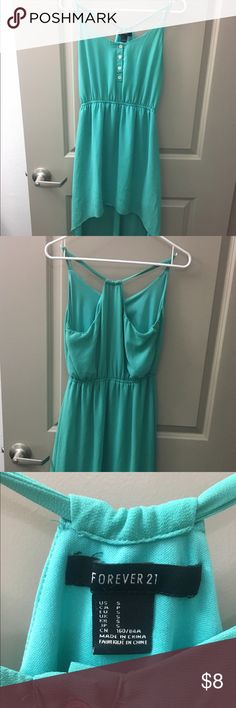 Forever 21 Teal High- Low Maxi Dress Teal High- Low dress from Forever 22. Elastic around the waist, razor back style straps. 4 buttons in the front that can be unbuttoned. Size small. Forever 21 Dresses High Low