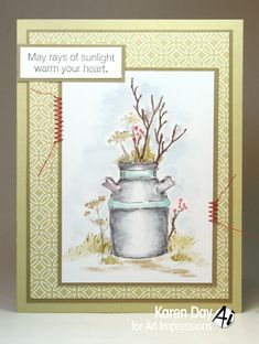 Art Impressions Blog: Clay Pot Watercolor by Karen Day