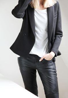 leather + white tee + textured jkt